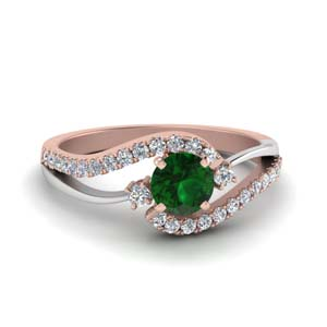 Two Gold Emerald Wedding Ring