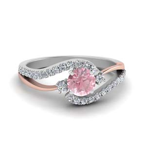 Twisted Pink Morganite Wedding Ring