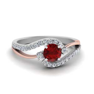 Ruby Twisted Diamond Engagement Ring