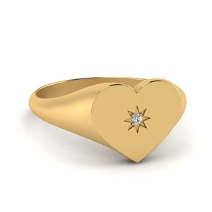 Gold Star Symbol Diamond Signet Ring