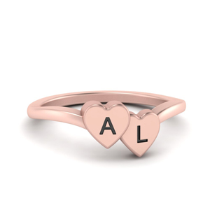 Double Heart Initial Ring