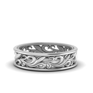 Filigree White Gold Wedding Band