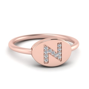 Pinky Initial Diamond Signet Ring