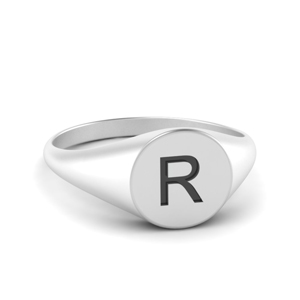 White Gold Initial Signet Ring