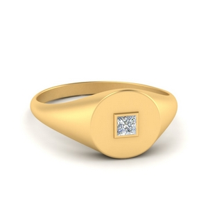 Single Diamond Signet Ring
