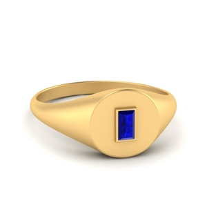 Gold Baguette Sapphire Signet Ring