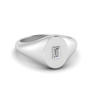 White Gold Baguette Signet Ring