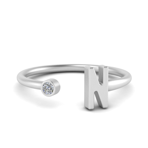 Platinum Initial Open Ring