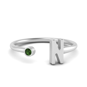 Emerald Initial Open Ring