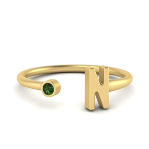 Initial Emerald Open Ring