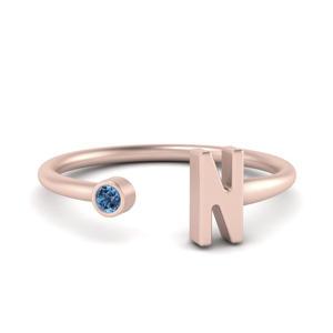 Initial Open Ring With Topaz