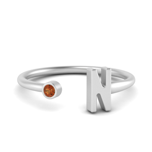 Single Orange Sapphire Ring