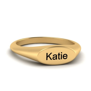 Name Signet Wedding Ring