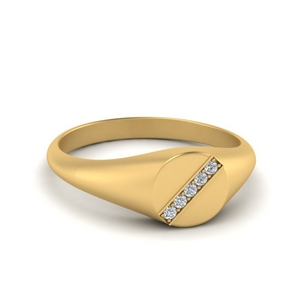 5 Stone Signet Ring Gold