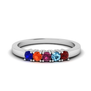 White Gold Birthstone Band For Her