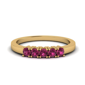 Gold Pink Sapphire Band