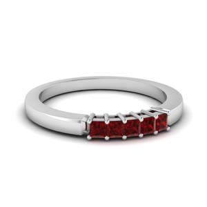 Five Stone Ruby Wedding Band