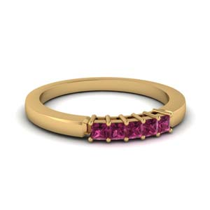 Square Pink Sapphire Wedding Band