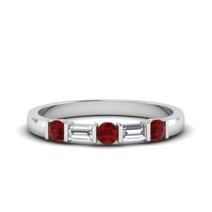 round and baguette diamond band with ruby in 18K white gold FDWB1912BGRUDR NL WG
