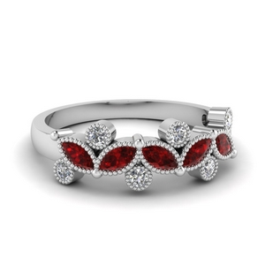 Round And Marquise Cut Ruby Band