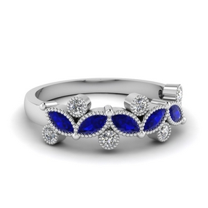 0.50 Ct. Diamond Band With Sapphire