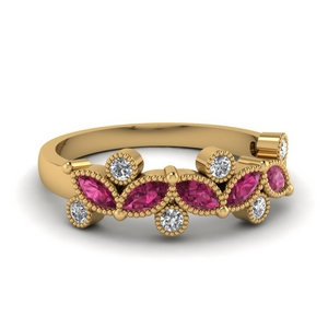 Gold Marquise Pink Sapphire Band