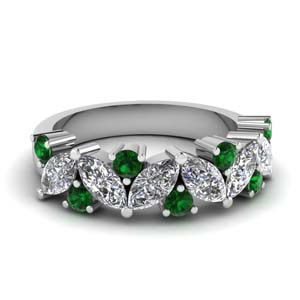 Emerald Marquise Diamond Band