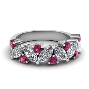 marquise diamond wedding ring with pink sapphire in FDWB2308BGSADRPI NL WG