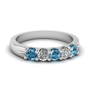 5 stone round diamond wedding anniversary ring with blue topaz in FDWB2773BGICBLTO NL WG