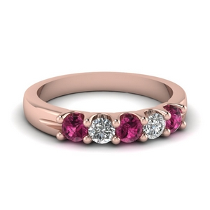 18K Rose Gold Pink Sapphire Band