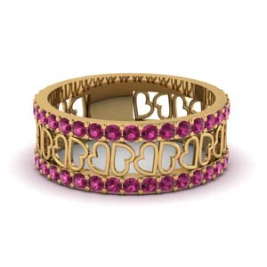 open heart pattern wide trio diamond band for women pink sapphire in 14K yellow gold FDWB2805BGSADRPI NL YG GS