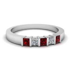 0.50 ct. diamond 5 stone bar wedding band with ruby in FDWB314BGRUDR NL WG
