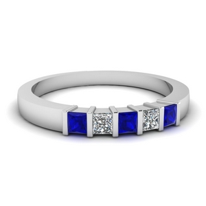 0.50 ct. diamond 5 stone bar wedding band with sapphire in FDWB314BGSABL NL WG