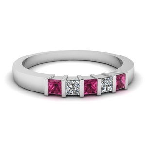 0.50 ct. diamond 5 stone bar wedding band with pink sapphire in FDWB314BGSADRPI NL WG