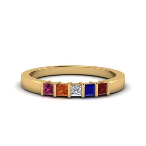 5 Stones Gemstone Mothers Ring