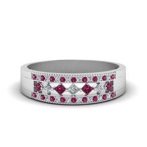 3 row diamond anniversary band with pink sapphire in 14K white gold FDWB5219BGSADRPI NL WG