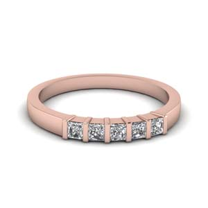 5 Stone Princess Cut Wedding Band
