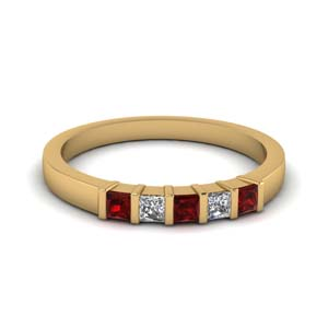 Bar Set Ruby Wedding Band