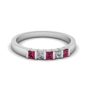 bar 5 stone princess cut wedding band with pink sapphire in 950 Platinum FDWB660BGSADRPI NL WG