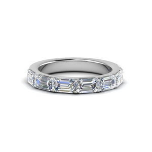 Horizontal 14K White Gold Diamond Band