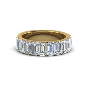 Gold Emerald Cut Diamond Band