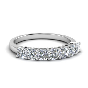 7 Stone Cushion Cut Wedding Band
