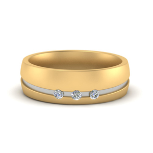 Women 2 Tone Wedding Band Gold