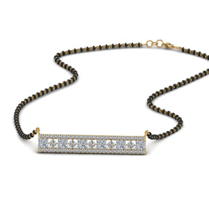3 Row Bar Diamond Mangalsutra Pendant
