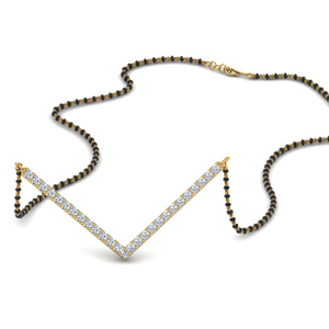 Diamond Mangalsutra In V Shaped