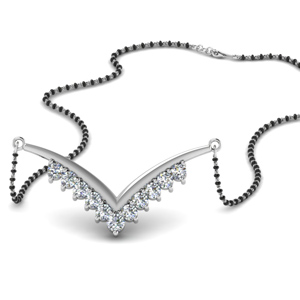 V Shaped Diamond Mangalsutra With Beads