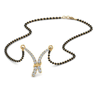 V Shaped Graduated Diamond Mangalsutra