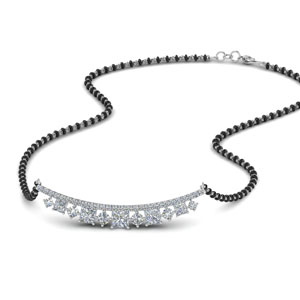 Curved Bar Diamond Mangalsutra