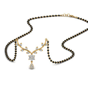 Leaf Diamonds Mangalsutra Necklace