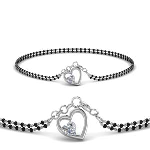 Heart Drop Diamond Mangalsutra Bracelet